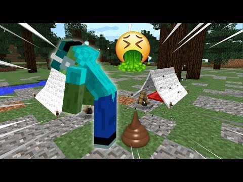Minecraft MARK FRIENDLY ZOMBIE DOES A GIANT POO IN OUR GARDEN !! IT STINKS !! Minecraft