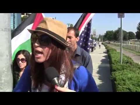 """Israel = ISIS"" What Palestinian-American woman believes about Israel vs Gaza- at L.A. Rally"