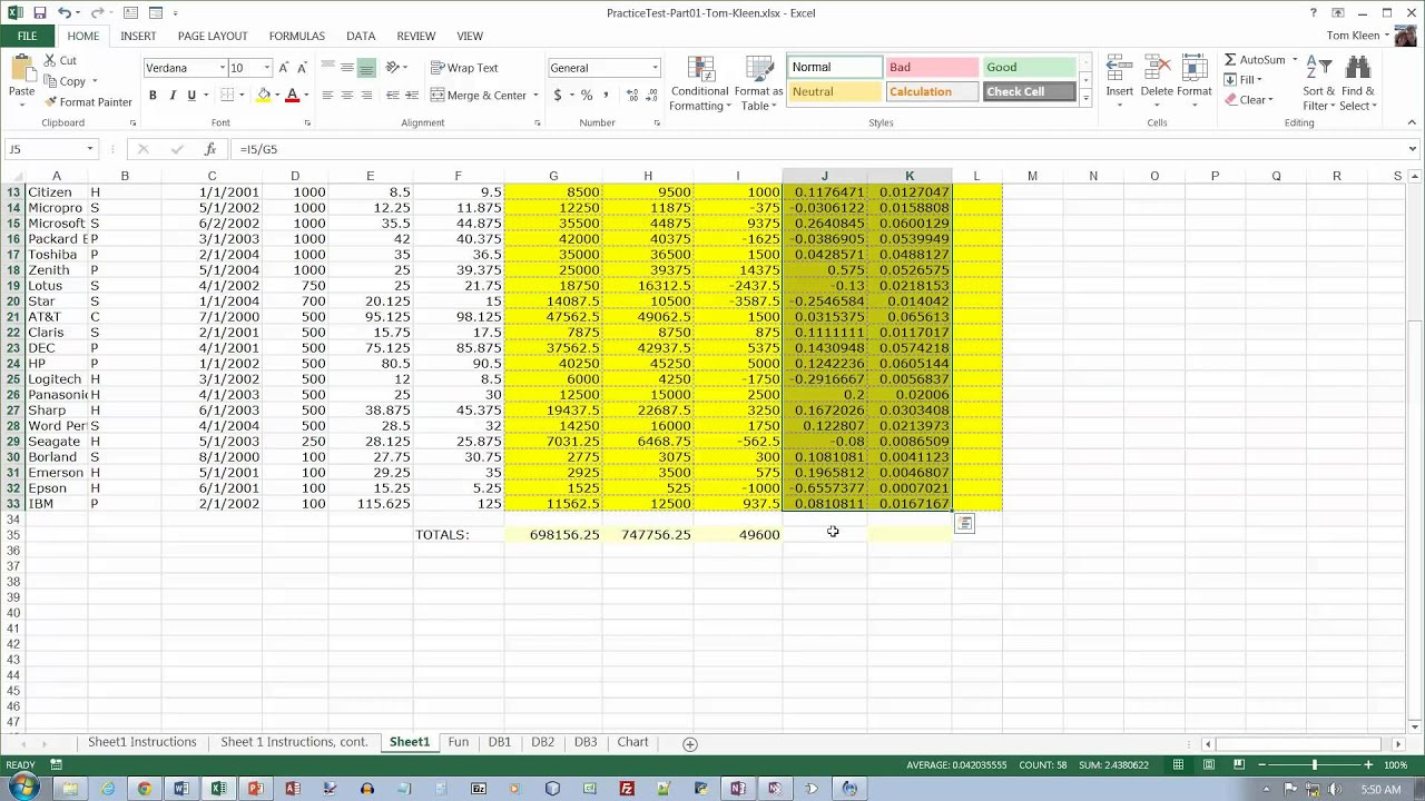 Excel Practice Test Part 1 Video 1 Of 2