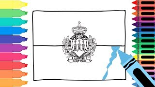 How to Draw a San Marino Flag - Coloring Pages for kids -Drawing a Sammarinese Flag | Tanimated Toys
