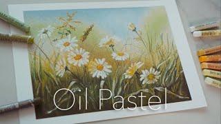오일파스텔 / 데이지꽃 그리기 / oil pastel …