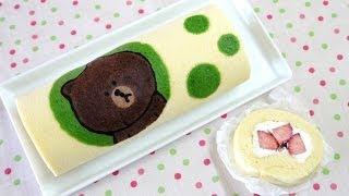 LINE Swiss Roll Cake ライン コラボ ブラウンのスイスロールケーキ