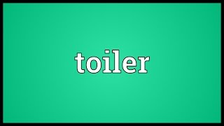 Toiler Meaning