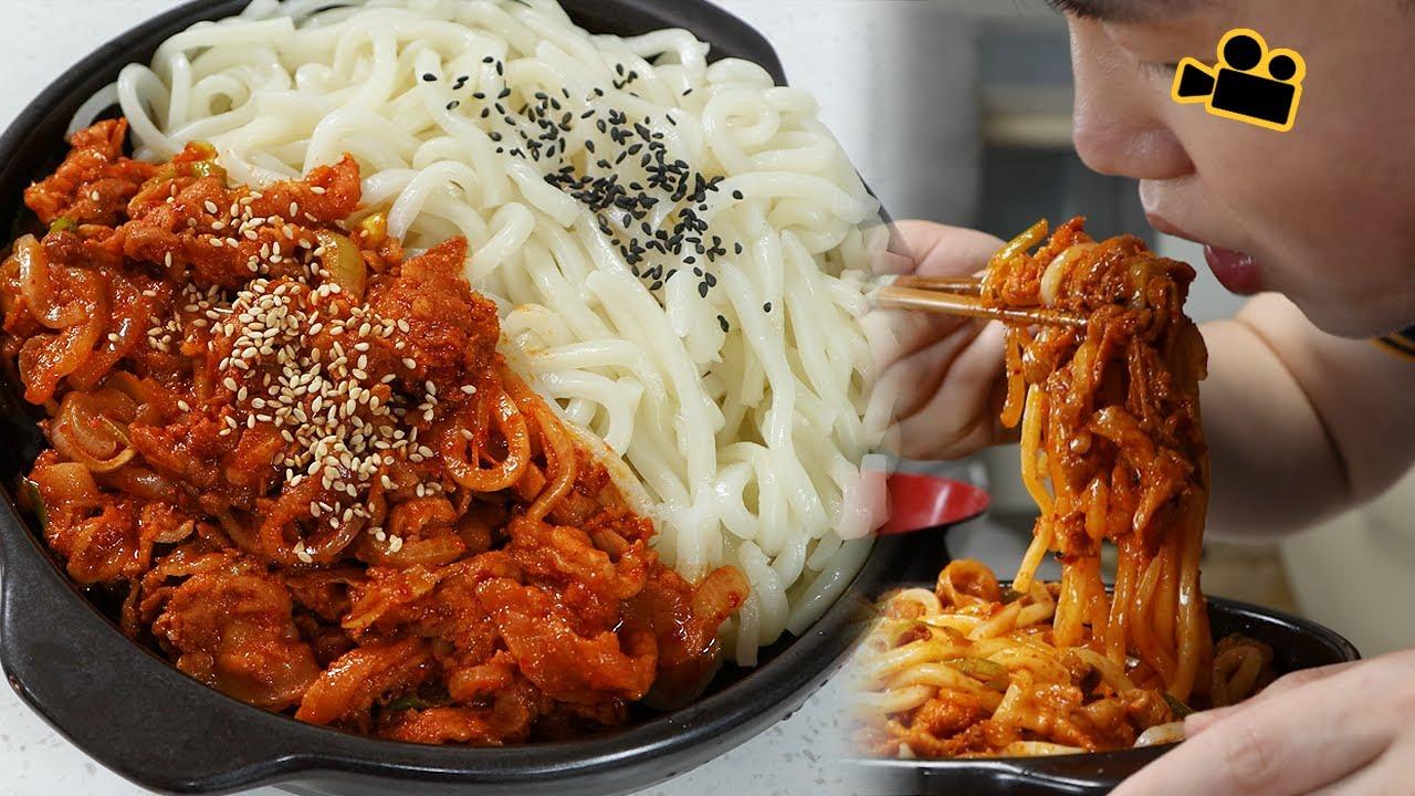 제육우동..시네마먹방Jeyuk bokkeum Udon (spicy pork) ENG Cinema Mukbang DoNam