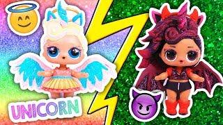 🦄 Unicorn DIY 😇 Glitter ANGEL and DEMON UNICORNS 👿 Custom LOL Surprise Dolls Toy Transformations
