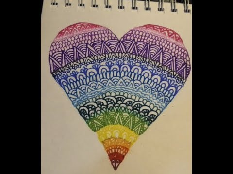 How to Draw a Heartdala! (A heart-shaped Mandala) - YouTube