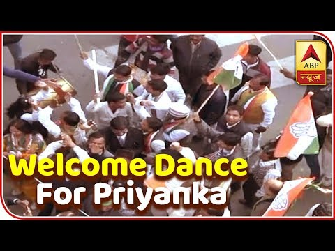 Cong Workers Dancing Before Priyanka's Roadshow In Lucknow | ABP News