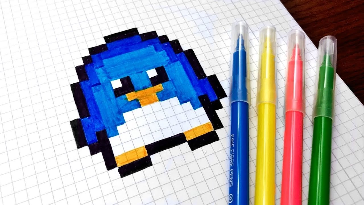 Handmade Pixel Art How To Draw Kawaii Penguin Pixelart Youtube