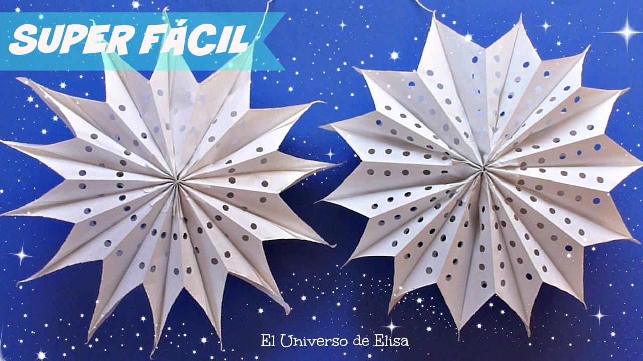 Manualidades navide as estrellas gigantes de papel - Adornos de navidad con papel ...