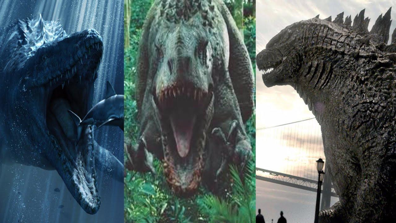 Mosasaur & I-Rex vs Godzilla (HD)