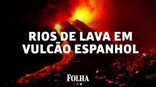 Vulcão nas Ilhas Canárias cria 'rios' de lava que fluem para o mar