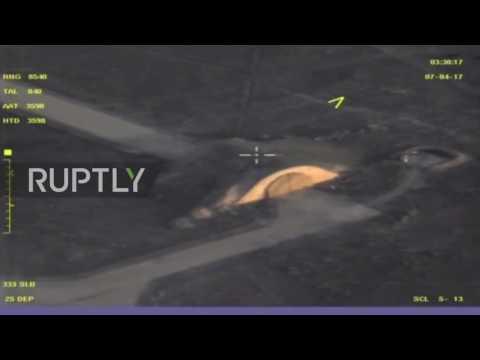 Síria: MoD libera imagens de drone da Base de Shayrat após ataque aéreo dos EUA