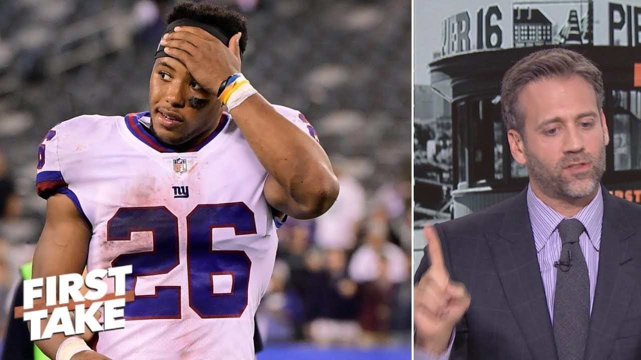 buy popular c0a75 8748a Saquon is best running back in NFL over Todd Gurley - Max Kellerman | First  Take