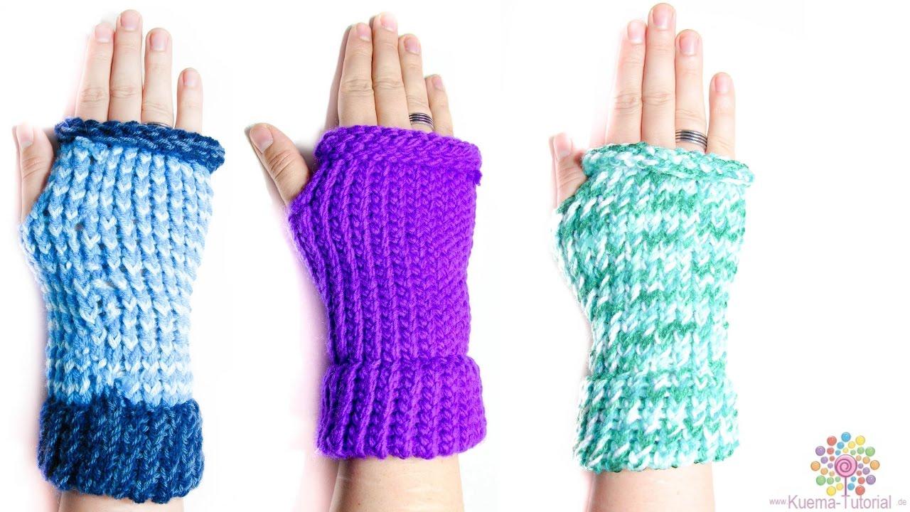 Kntting Loom - Stulpe | fingerlose Handschuhe - YouTube