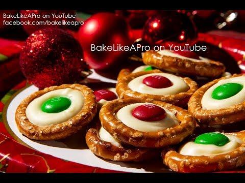 EASY Chocolate M&Ms Holiday Pretzels Recipe Tutorial