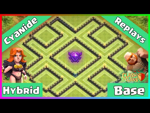 Clash Of Clans: TH9 Hybrid Protect Town Hall/Storages (Crystal League Base) - Cyanide + Replays