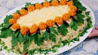 Салат Универсальный из любых консервов, рыбы, мяса, курицы, колбасы, буженины, ветчины