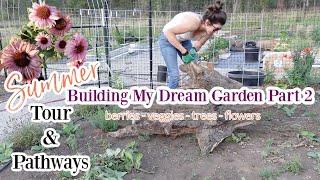 Summer Garden Tour / Laying Pathways & Flowers / 1/4 Acre Garden Berries, Veggies, Fruit Trees