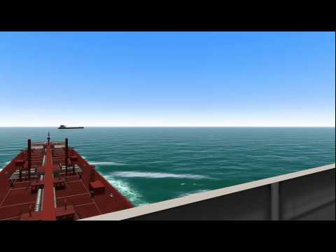 COLREGs - Rule 17 - Scenario: Overtaking (avoiding give-way vessel - to starboard) - Bridge view