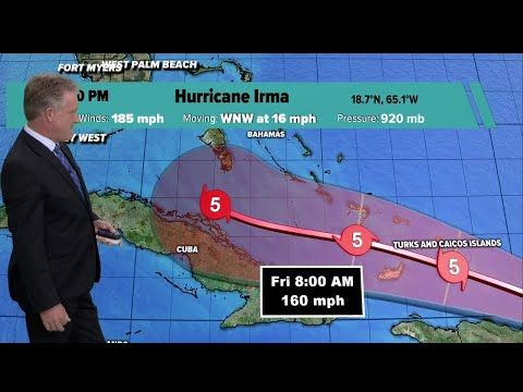 Category 5 Irma's winds still at 185 mph, track moves slightly eastward