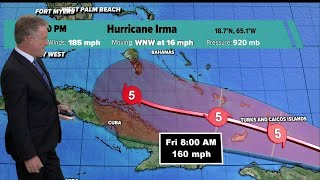 Category 5 Irma's winds still at 185 mph, track moves slightly eastward thumbnail