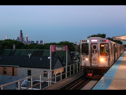 Chicago Transit Authority Pink Line train serves Western!