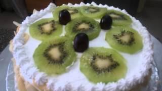 Fresh Cream Fruit Cake With Almond Slices And Kiwi