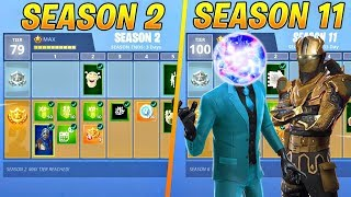 Evolution Of Fortnite Battle Pass Items From Season 2 - Season 11..!