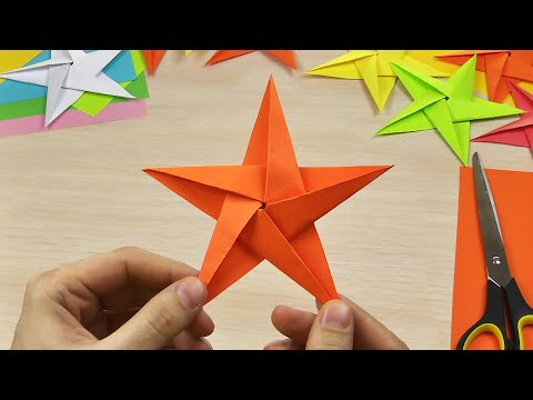 How to make a star out of paper (STAR ORIGAMI JUST, DIY paper crafts, origami art for kids)
