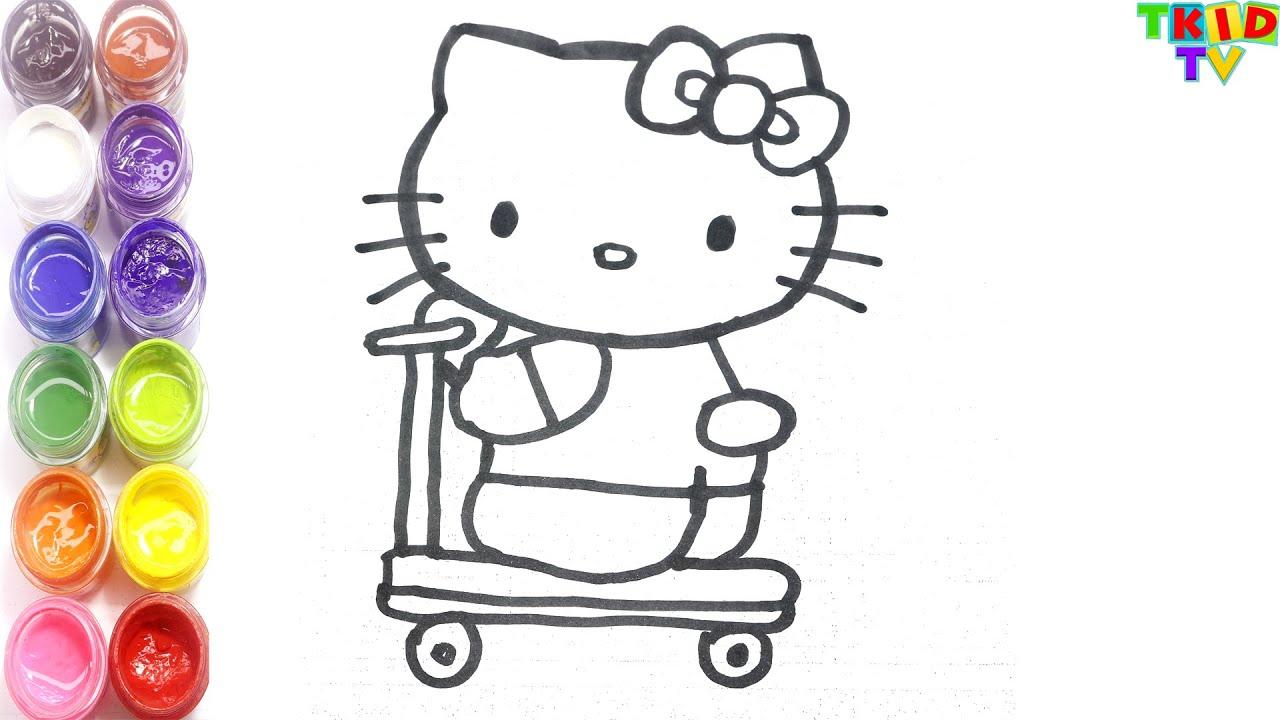 Cara Menggambar Dan Mewarnai Hello Kitty Naik Skuter Youtube