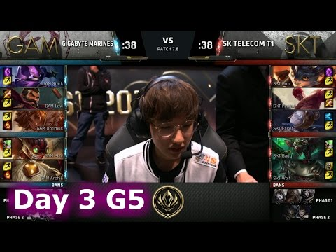 Gigabyte Marines vs SK Telecom T1 | Day 3 LoL MSI 2017 Group Stage | GAM vs SKT G2