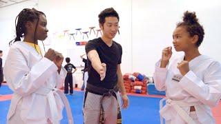 OUR KOREAN DAD TEACHES US HOW TO FIGHT! 아빠가 우리에게 태권도를 가르쳐