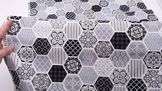 honeycomb pattern Kokka fabric with hexagons and ornament designs