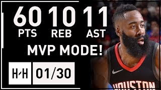 James Harden UNREAL Triple-Double Highlights vs Magic (2018.01.30) - 60 Points, 11 Ast, 10 Reb!