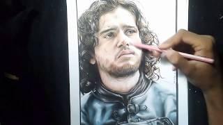 Drawing Jon Snow (Kit Harington)|using Faber castell classic pencils