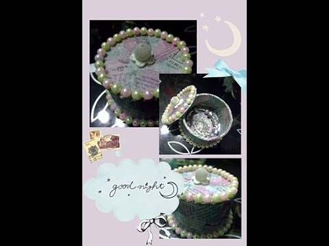 """DIY """"cake"""" jewelry box made from duct tape core & newspaper"""