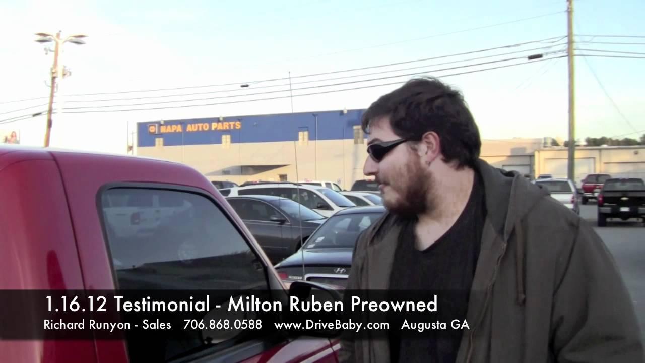 1 16 12 Testimonial Milton Ruben Preowned Used Car Dealer