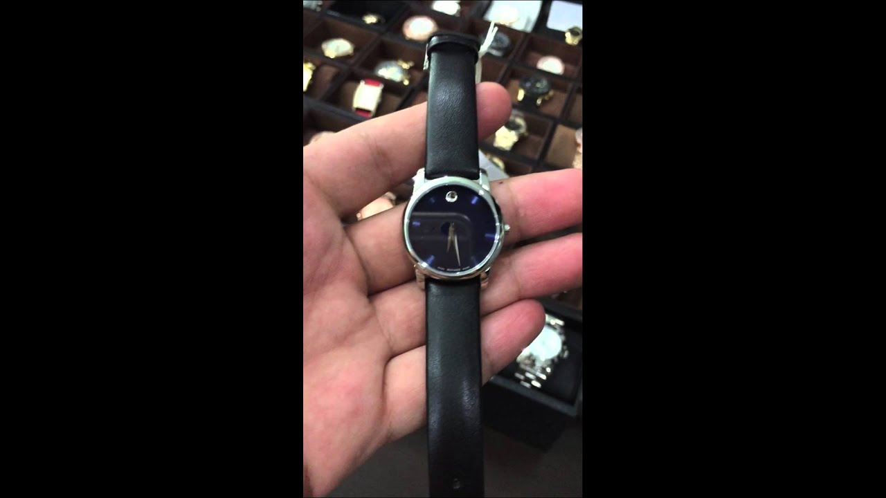 movado museum blue dial stainless steel case black leather