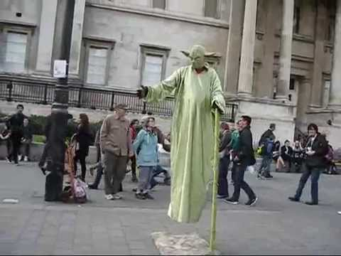 YODA floating in the air at Trafalgar Square, London, UK