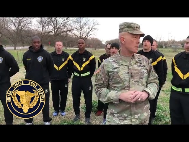 """""""I am disciplined, physically, and mentally tough""""  U.S. Army Reserve Soldiers and Lt. Gen. Charles D. Luckey were in Austin, TX, getting after the new Army Combat Fitness Test."""