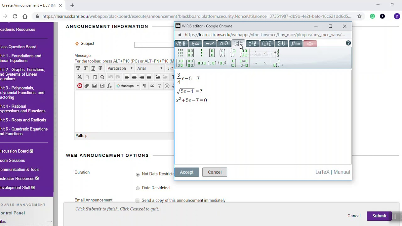 Math Editor in Blackboard