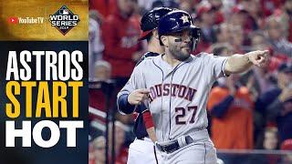 Astros start HOT in World Series Game 4 (Alex Bregman, Yuli Guriel drive in runs in 1st inning)