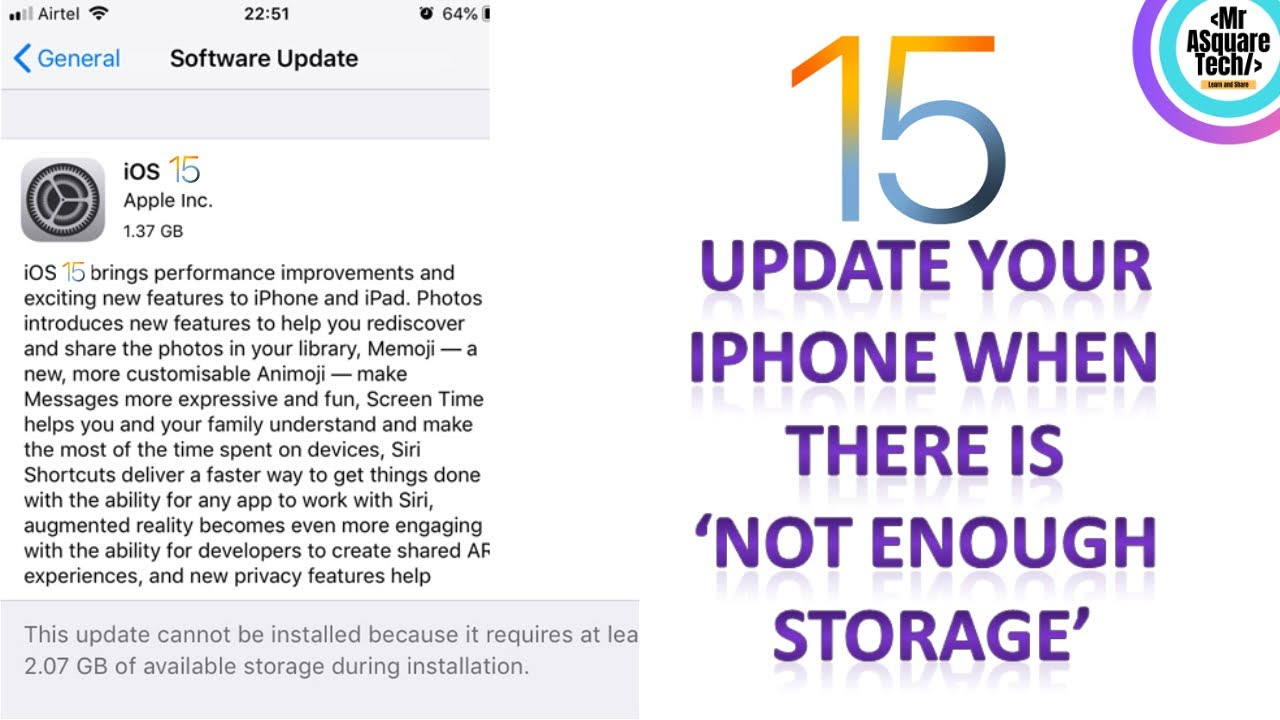 Update IPhone to latest iOS | When there is Not Enough Storage