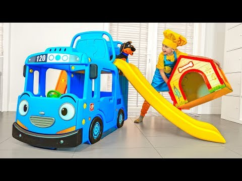 Eli And Dad Play Toys Delivery With New Bus Slide