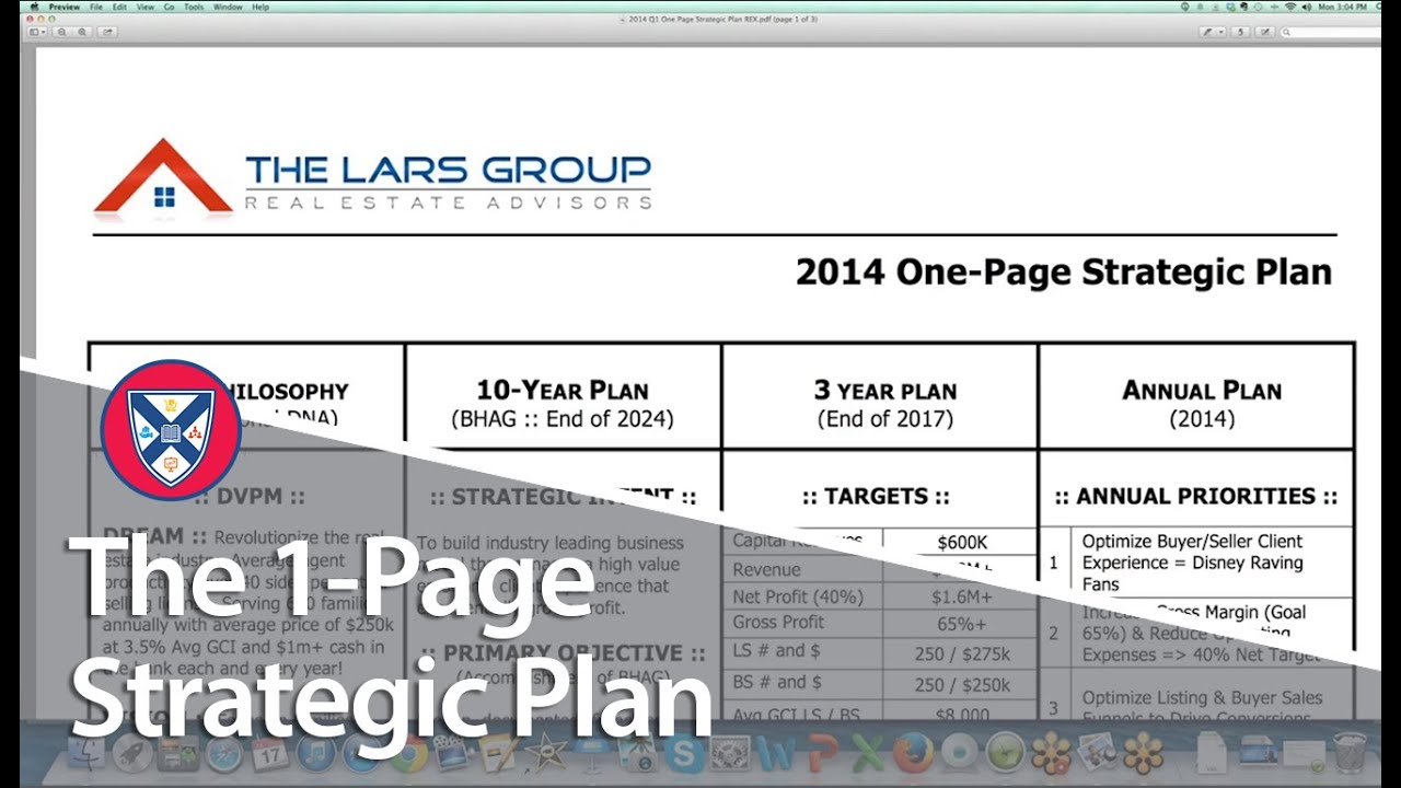 1 3 5 year plan template - real estate b school highlight the 1 page strategic plan