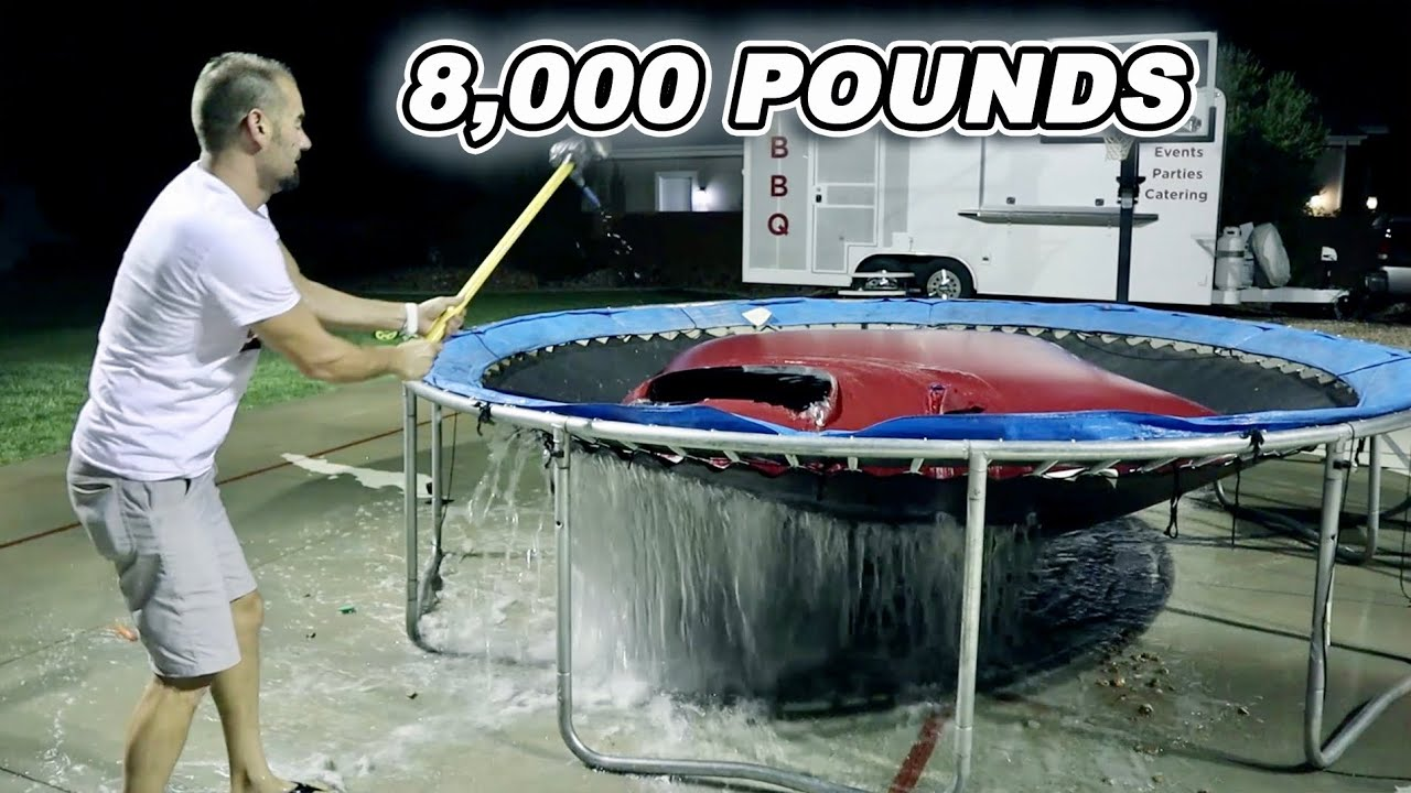 1,000 GALLONS Of Water On A Trampoline!