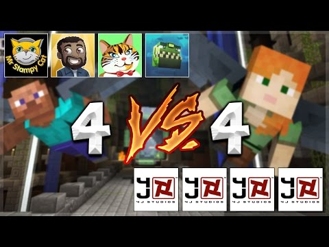YOUTUBERS Vs 4jSTUDIOS! Minecraft Console Edition - GLIDE Mini-Game 4V4 Battle