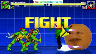Michelangelo And Raphael VS Robin And The Annoying Orange In A MUGEN Match / Battle / Fight