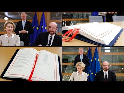 afpde: Von der Leyen und Michel unterschreiben Brexit-Vertrag   AFP
