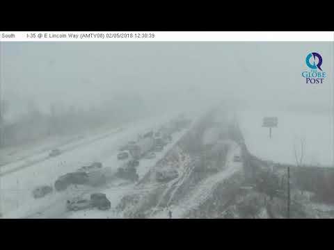 Massive 70-car Pileup on Snowy Highway in Iowa